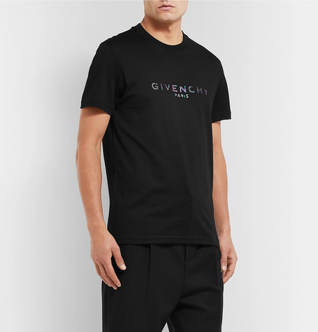 Givenchy Slim-fit Logo-print Cotton-jersey T-shirt In Black
