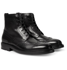 SAINT LAURENT - Polished-Leather Wingtip Brogue Boots