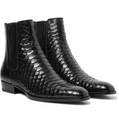 Saint Laurent Wyatt Python and Leather Chelsea Boots