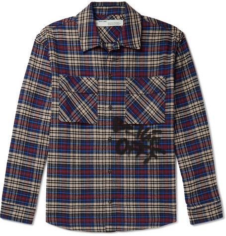 Off-White Tops LOGO-PRINT CHECKED COTTON-BLEND FLANNEL SHIRT