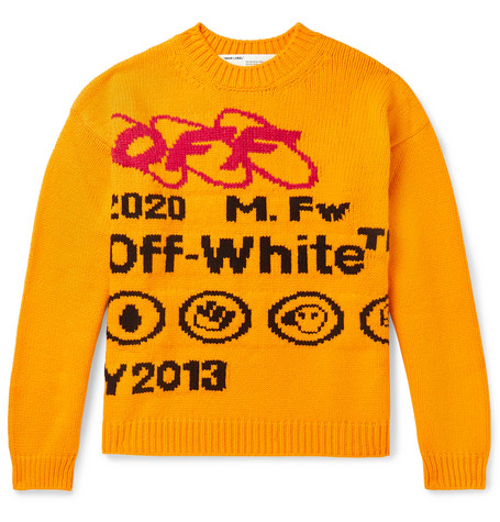 Off-White Sweaters INTARSIA WOOL-BLEND SWEATER