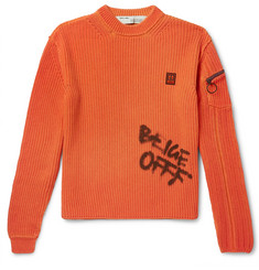 Off-White Logo-Print Ribbed Cotton Sweater