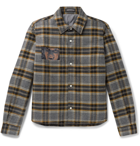 Undercover Cropped Padded Printed Checked Cotton-Flannel Overshirt In Gray