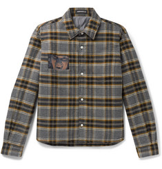 Undercover Cropped Padded Printed Checked Cotton-Flannel Overshirt
