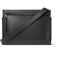Leather Messenger Bag - Black