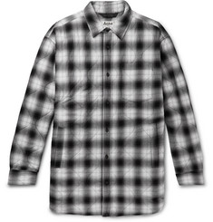 Acne Studios Quilted Checked Herringbone Cotton-Blend Overshirt