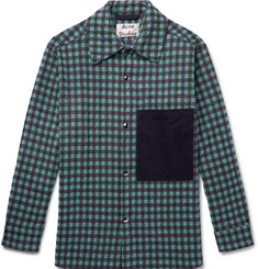 443636054 Acne Studios Oversized Twill-Trimmed Checked Flannel Overshirt