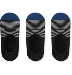 Marcoliani - Three-Pack Invisible Touch Striped Stretch Pima Cotton-Blend No-Show Socks