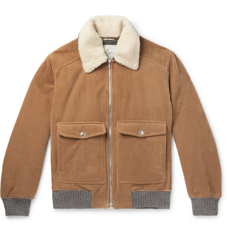 Brunello Cucinelli Shearling-Trimmed Cotton and Cashmere-Blend Corduroy Bomber Jacket