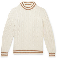 Brunello Cucinelli Striped Cable-Knit Cashmere Sweater