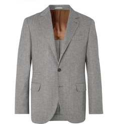 Brunello Cucinelli - Grey Herringbone Virgin Wool and Cashmere-Blend Suit Jacket