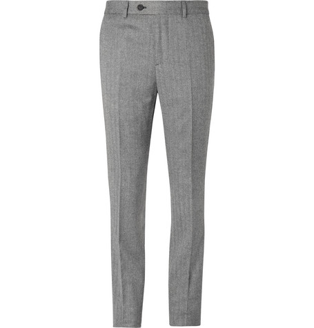 Brunello Cucinelli Grey Slim-Fit Herringbone Virgin Wool and Cashmere-Blend Suit Trousers