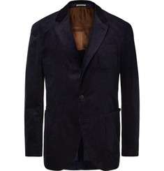 Brunello Cucinelli Indigo Sea-Island Cotton-Corduroy Suit Jacket