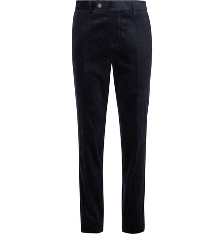 Brunello Cucinelli Indigo Sea Island Cotton-Corduroy Trousers
