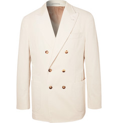 Brunello Cucinelli - White Double-Breasted Sea Island Cotton-Corduroy Blazer