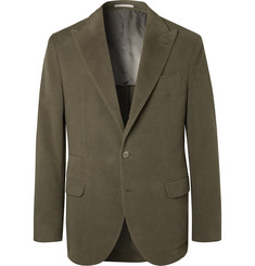 Brunello Cucinelli - Dark-Sage Unstructured Cotton and Cashmere-Blend Suit Jacket