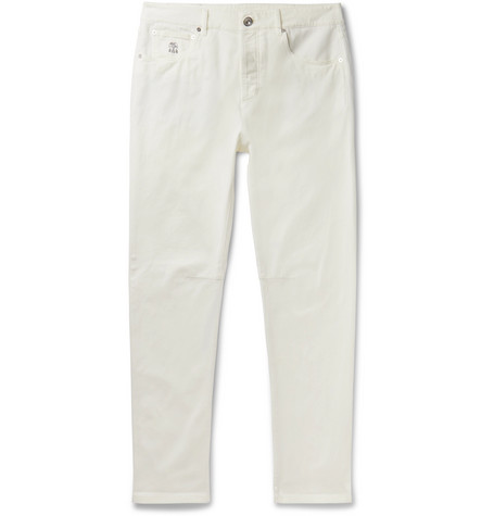 BRUNELLO CUCINELLI | Brunello Cucinelli - Slim-Fit Denim Jeans - White | Goxip