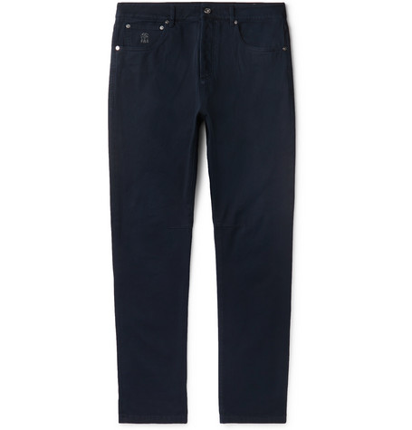 BRUNELLO CUCINELLI | Brunello Cucinelli - Slim-Fit Stretch-Denim Jeans - Dark Denim | Goxip