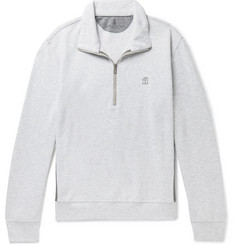 Brunello Cucinelli - Panelled Cotton-Blend Jersey and Shell Half-Zip Sweatshirt