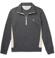 Brunello Cucinelli - Nylon-Trimmed Cotton-Blend Jersey Half-Zip Sweatshirt
