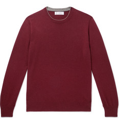 Contrast-tipped Cashmere Sweater - Burgundy