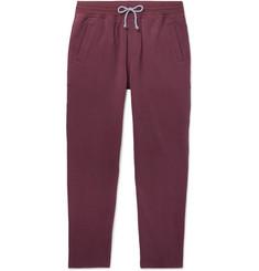 Tapered Fleece-back Stretch-cotton Jersey Sweatpants - Burgundy