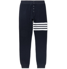 Thom Browne Slim-Fit Tapered Striped Waffle-Knit Cotton Sweatpants