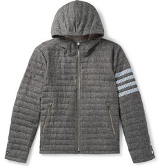 Thom Browne Striped Quilted Donegal Wool Hooded Down Jacket