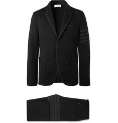 Thom Browne Black Slim-Fit Grosgrain-Trimmed Loopback Cotton-Jersey Suit