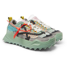 Off-White ODSY-1000 Leather-Trimmed Mesh, Suede and Rubber Sneakers