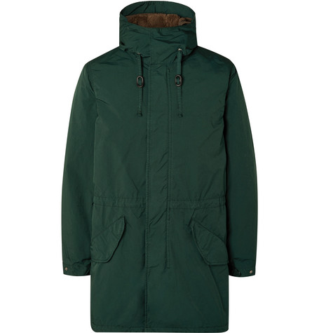 Aspesi Garment-Dyed Nylon Hooded Parka with Detachable Fleece Liner