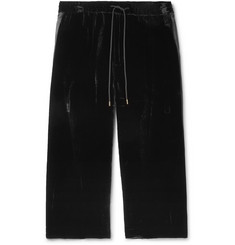Sasquatchfabrix. Wide-Leg Hammered Satin-Trimmed Velour Track Pants