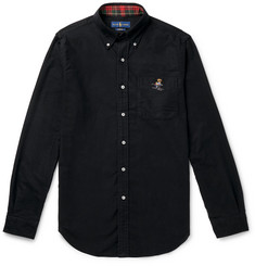 Polo Ralph Lauren Slim-Fit Button-Down Collar Logo-Embroidered Cotton-Flannel Shirt