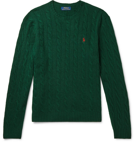 Polo Ralph Lauren Knits CABLE-KNIT CASHMERE AND WOOL-BLEND SWEATER