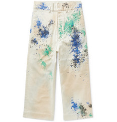 Sasquatchfabrix. Paint-Splattered Wide-Leg Cotton-Blend Twill Trousers