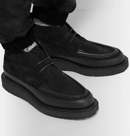 Sacai Leather-trimmed Suede Boots In 001   Black