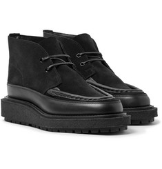 Sacai Leather-Trimmed Suede Boots