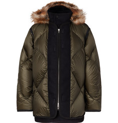 Sacai Faux Fur and Wool Twill-Trimmed Quilted Nylon Down Coat