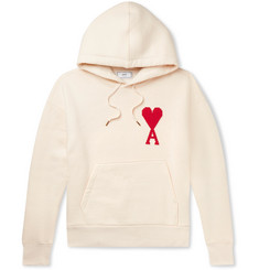 AMI Logo-Appliquéd Fleece-Back Cotton-Jersey Hoodie