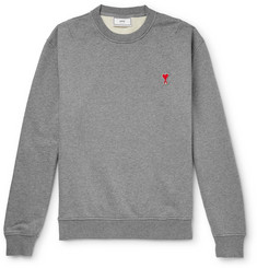 AMI - Logo-Appliquéd Loopback Cotton-Jersey Sweatshirt