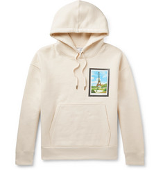 AMI Eiffel Tower Appliquéd Fleece-Back Cotton-Blend Jersey Hoodie