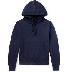 AMI Logo-Embroidered Fleece-Back Cotton-Blend Jersey Hoodie