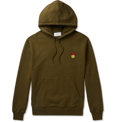 AMI + The Smiley Company Slim-Fit Logo-Appliquéd Loopback Cotton-Jersey Hoodie