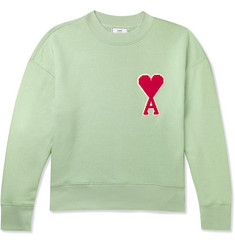 AMI Logo-Appliquéd Fleece-Back Cotton-Blend Jersey Sweatshirt