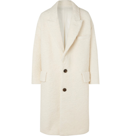 AMI Oversized Textured Wool-Blend Coat
