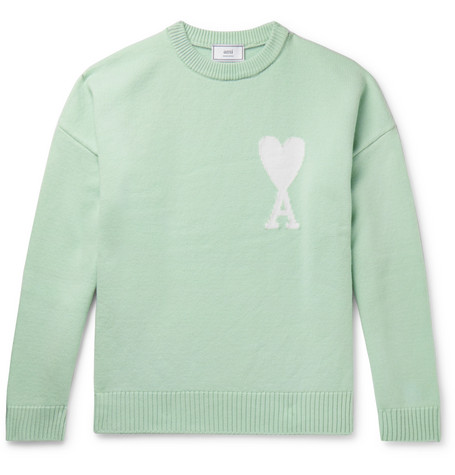 Ami Alexandre Mattiussi Oversized Logo Intarsia Merino Wool Sweater In Green