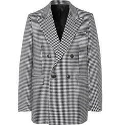 AMI Black Oversized Double-Breasted Houndstooth Virgin Wool-Blend Blazer