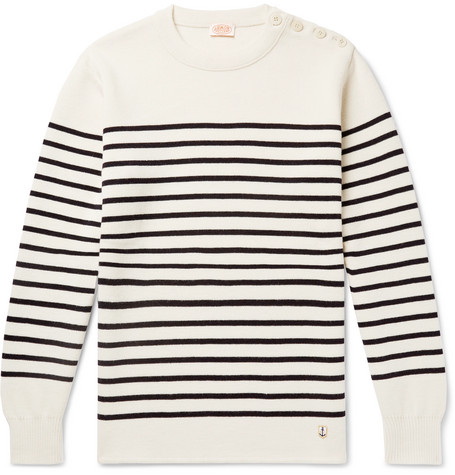 Molene Slim Fit Button Embellished Striped Wool Sweater by Armor Lux