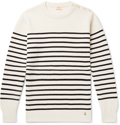 Armor Lux Molene Slim-Fit Button-Embellished Striped Wool Sweater