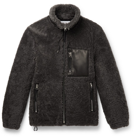Loewe – Leather-trimmed Shearling Jacket – Anthracite